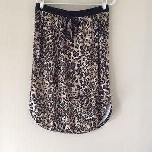 Leopard velour midi skirt